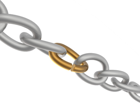 Grey chain with broken brown link, white background. Stock Photo