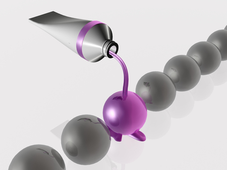 Violet and grey spheres as abstract background.