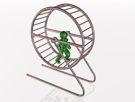 Man in the squirrel cage on white background.