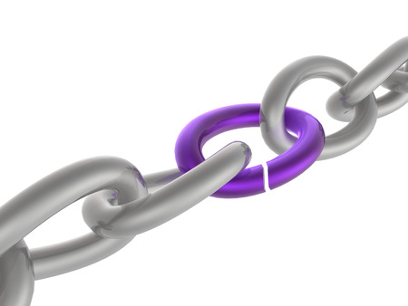 Grey chain with violet link, white background.