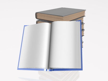 normal school: Blue and grey books, white reflective background. Stock Photo