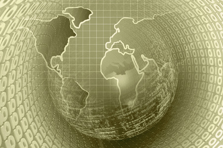 Computer Background In Sepia With World Map And Digits Stock Photo - World map sepia toned