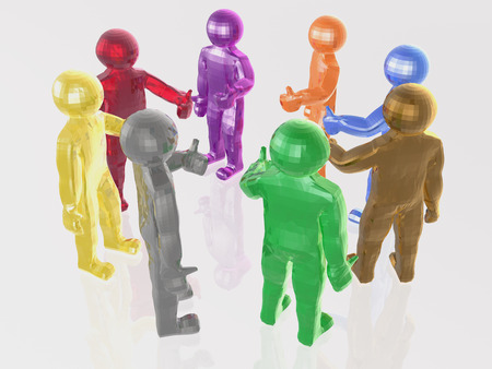 mans: A group of color mans on the white background, 3D illustration. Stock Photo