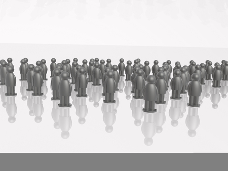 communication metaphor: A group of grey mans on the white background, 3D illustration.