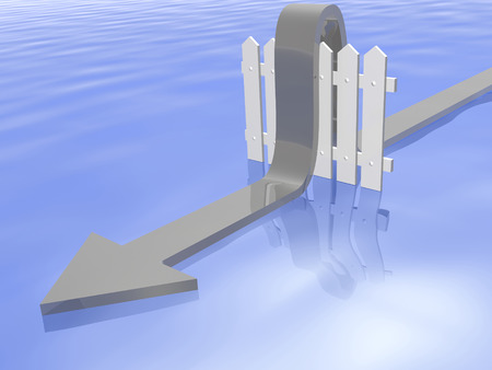 Grey arrow and fence on wave reflective background, 3D illustration.