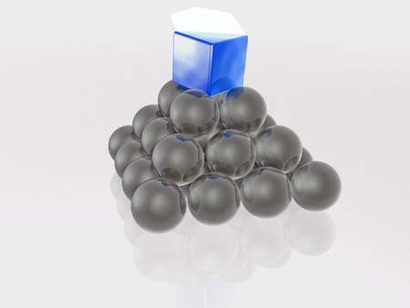 detachment: Blue prism and grey spheres as abstract background, 3D illustration.