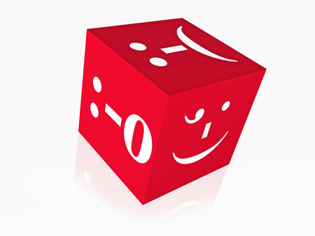 symbols  metaphors: Cube with smiles on the white background, 3D illustration.