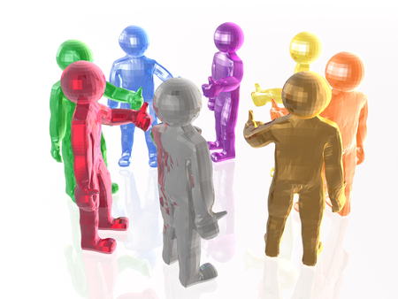 gladness: A group of color mans on the white background, 3D illustration. Stock Photo
