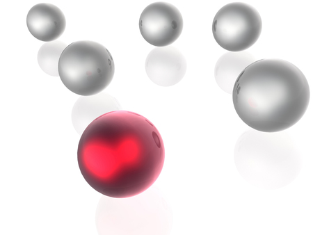 Red and grey spheres as abstract background, 3D illustration.