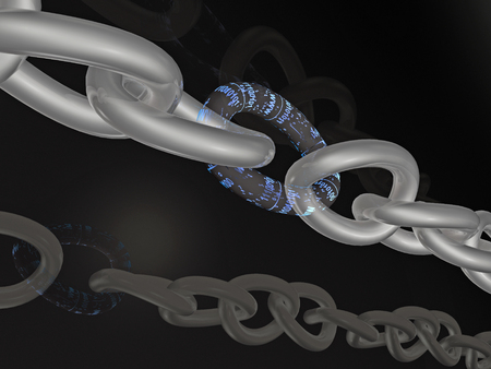 gold chain: Gold chain with digital central link, black background, 3D illustration. Stock Photo