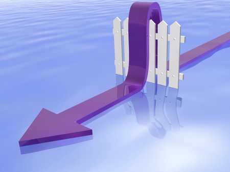 Blue arrow and fence on water reflective background, 3D illustration.