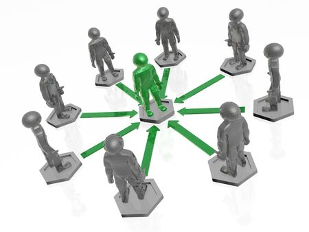 mans: Green and grey mans with arrows on white background, 3D illustration. Stock Photo