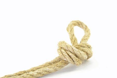 Rope with knot on the white background.