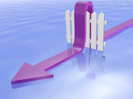 Violet arrow and fence on water reflective background, 3D illustration.