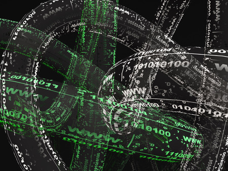 Digital streams on black background, 3D illustration.