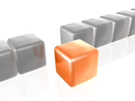 troop: Orange and grey cubes as abstract background, 3D illustration. Stock Photo