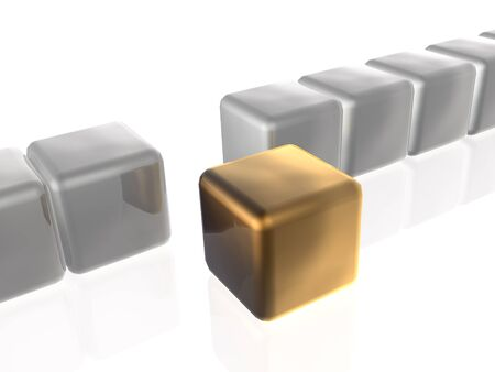 troop: Brown and grey cubes as abstract background, 3D illustration.
