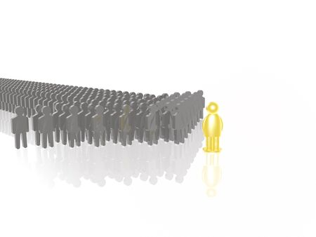 troop: Yellow and grey mans on white reflective background, 3D illustration.