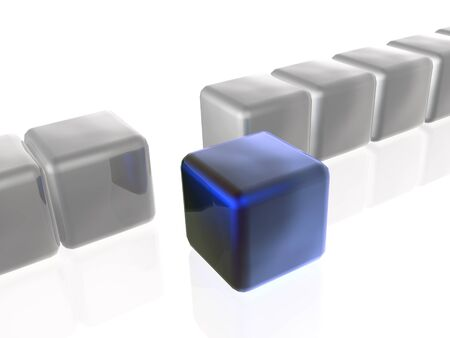 troop: Blue and grey cubes as abstract background, 3D illustration.