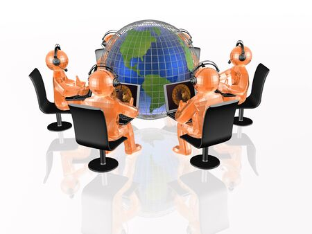 man's: Globe and orange mans on the white background, 3D illustration.