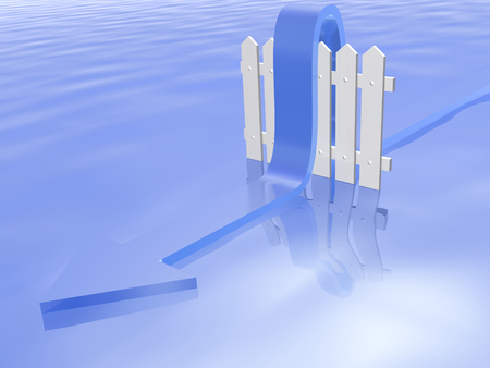 Blue arrow and fence on water background, 3D illustration.