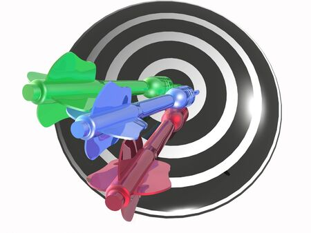 Color arrows on the target, white background, 3D illustration. Stock Photo