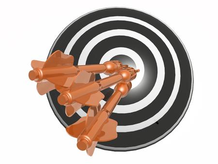 Orange arrows on the target, white background, 3D illustration.