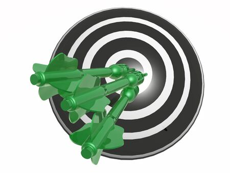 green arrows: Green arrows on the target, white background, 3D illustration. Stock Photo