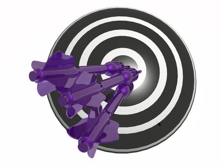 Violet arrows on the target, white background, 3D illustration.