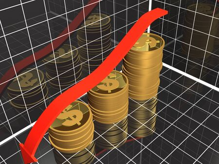 Business picture about analysis - graph, arrow and coins, 3D illustration.