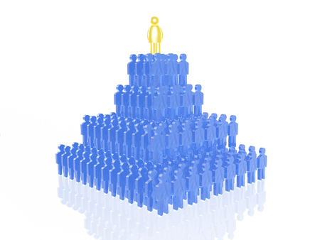 Yellow and blue mans on white reflective background, 3D illustration.