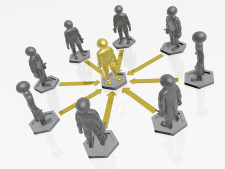 Yellow and grey mans with arrows on white background, 3D illustration.