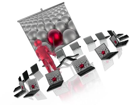 Red and grey spheres on screen as abstract background, 3D illustration. Stock Photo