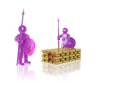 Pink armed mans with gold on white background, 3D illustration. Stock Photo