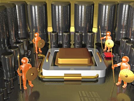 capacitor: Guardians and electronic components on the motherboard, 3D illustration.