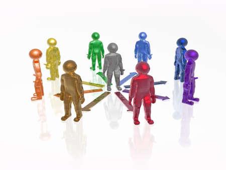 Color mans on white reflective background, 3D illustration.