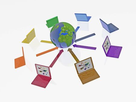 Network - notebooks and globe on white background, 3D illustration.