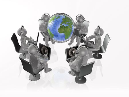 association: Globe and grey mans on the white background, 3D illustration.
