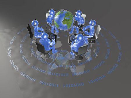 man's: Communication - globe, blue mans and notebooks on digital background, 3D illustration.