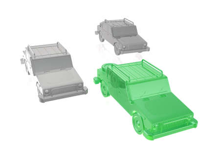 Green and grey cars on white reflective background, 3D illustration.