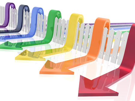 Color arrows and fence on white reflective background, 3D illustration. Stock Photo