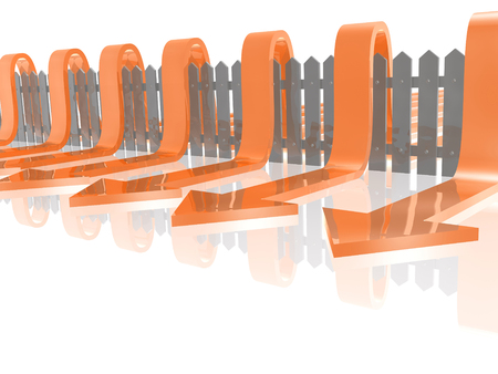 Red arrows and fence on white reflective background, 3D illustration. Stock Photo