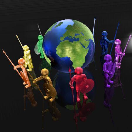Color armed mans with globe on black background, 3D illustration.