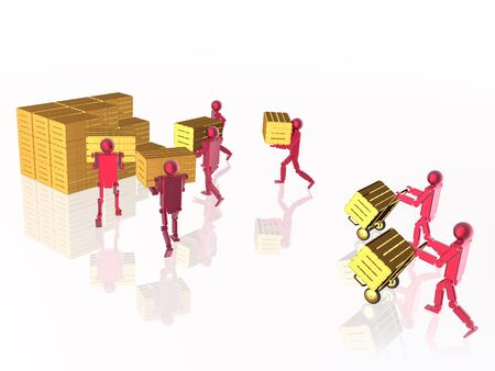 Red robots with yellow casegoods on white reflective background