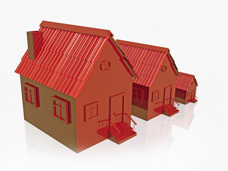 Three red homes on white reflection background, 3D illustration.