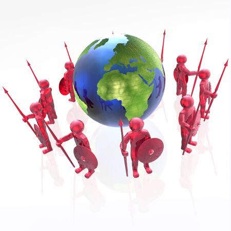man's: Red armed mans with globe on white background, 3D illustration.