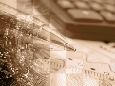 Business background in sepia with graph, digits, calculator and pen. Stock Photo