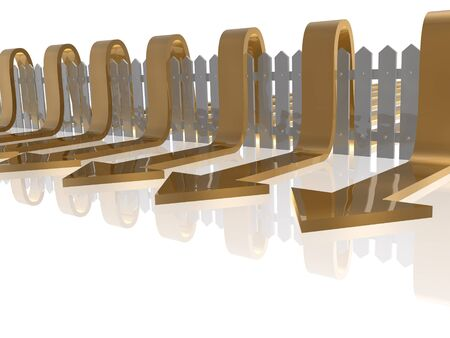 Brown arrows and fence on white reflective background, 3D illustration.