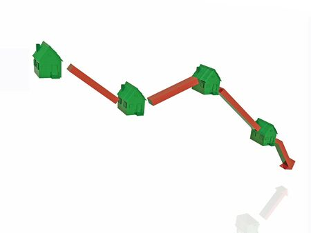 Green homes and arrow on white reflection background, 3D illustration. Stock Photo