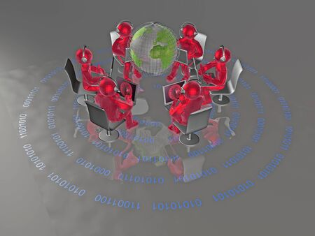 Red mans and globe on the digital background, 3D illustration.